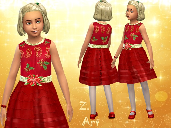 The Sims Resource: Xmas Gift dress by Zuckerschnute20