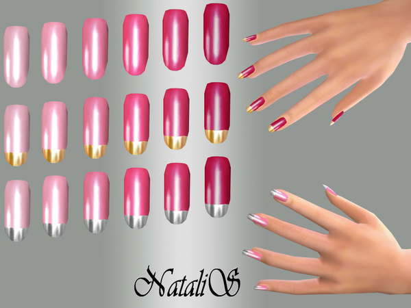 The Sims Resource: Long nails Pink set by NataliS