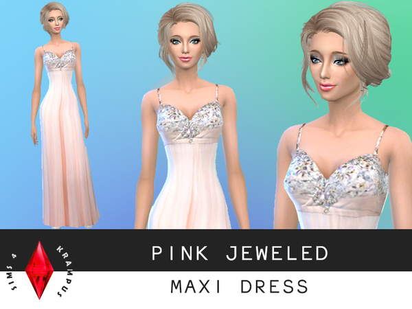 The Sims Resource: Pink Maxi/Prom Dress by SIms 4 Krampus