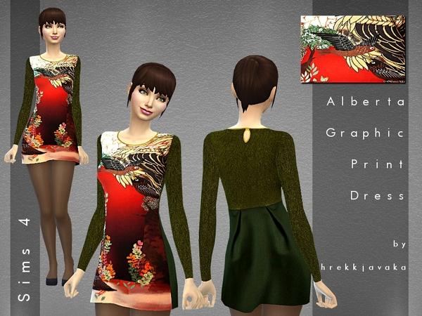 The Sims Resource: Alberta Graphic Print Dress by hrekkjavaka