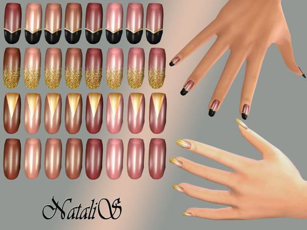 The Sims Resource: Gold design nails collections by NataliS