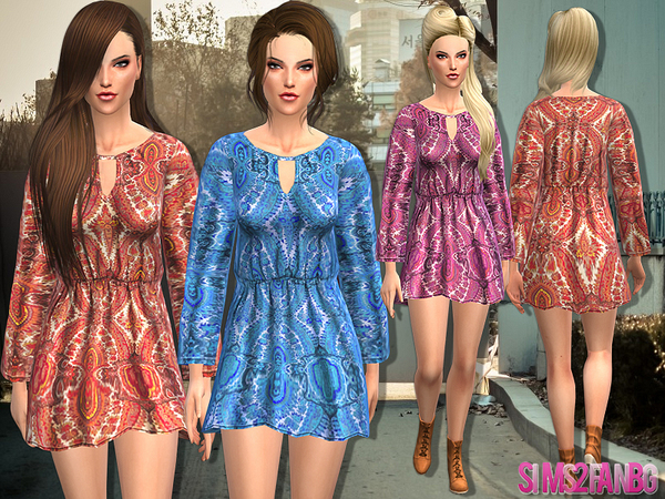 The Sims Resource: Printed dress by Sims2fanbg