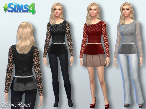 The Sims Resource: Leather and Lace Top bi Simromi