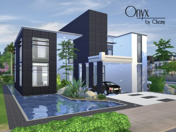 The sims resource onyx modern house by chemy sims 4 for Sims 4 house plans