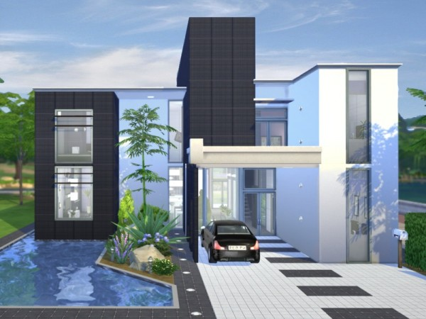 The sims resource onyx modern house by chemy sims 4 for Home design resources