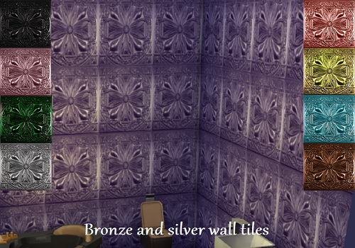 Trudie55: Bronze and silver wall tiles by Trudie55