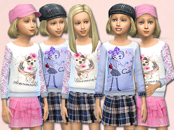 The Sims Resource: Melissa child fashion sweaters and skirts set by Pinkzombiecupcake