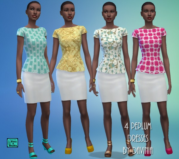 Mod The Sims: 4 Peplum Dresses with Print Tops and White Skirts by Davinia
