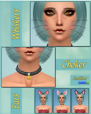 Jenni Sims: Kitty Set Accessory Whiskers,Necklace Choker, Ears