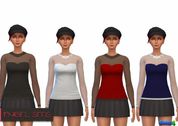 NY Girl Sims: Collared Sweetheart Blouse