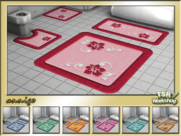 The Sims Resource: Bath Rugs Hibiscus Set by annigo