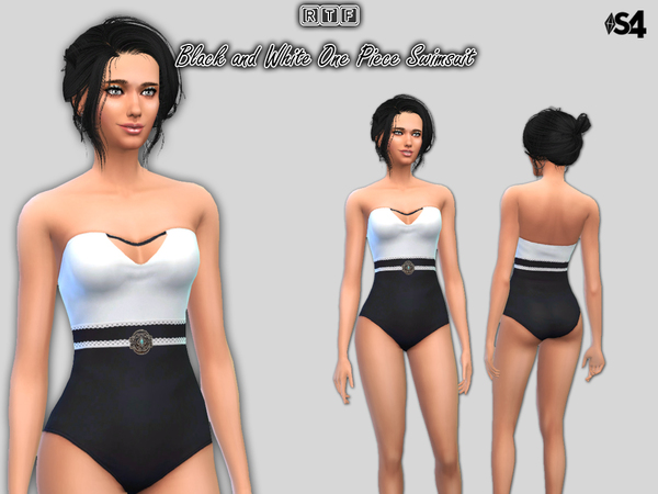 The Sims Resource: Black and White One Piece Swimsuit by Oldmember