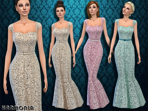 The Sims Resource: Intensely Embellished Gown by Harmonia