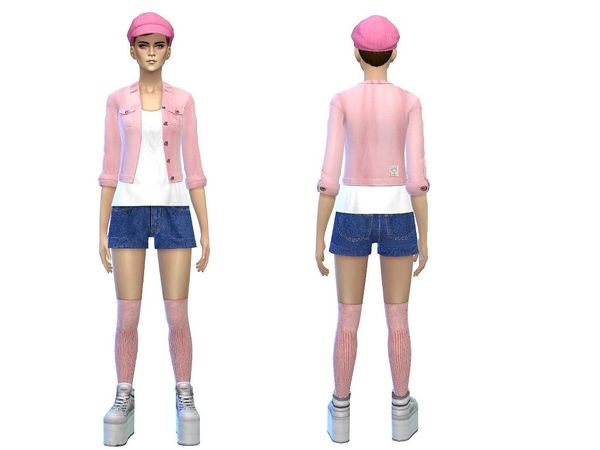 The Sims Resource: Sweet denim outfit female by Simsoertchen