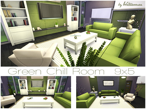 Akisima sims blog green chill room sims 4 downloads for Sims 4 living room ideas