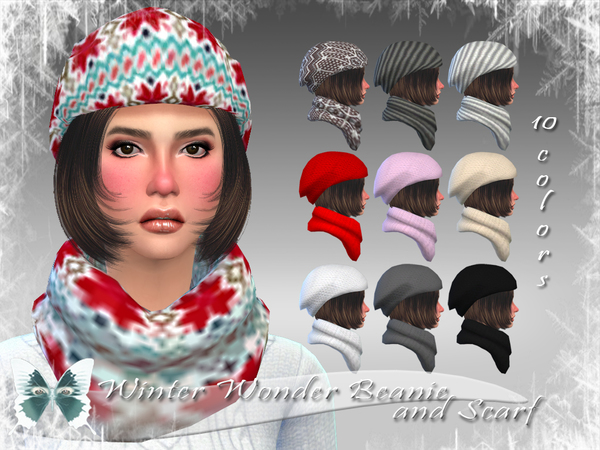 The Sims Resource: Winter Wonder Beanie and Scarf by Ms Blue