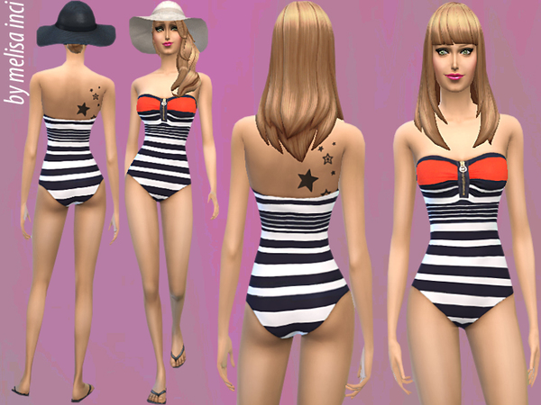 The Sims Resource: Stripe Bandeau Swimwear by Melisa Inci