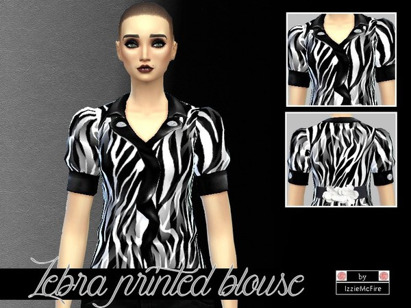 The Sims Resource: Zebra printed blouse by IzzieMcFire