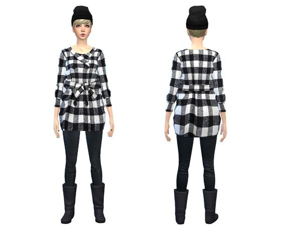 The Sims Resource: Trenchcoat black and white by Simsoertchen
