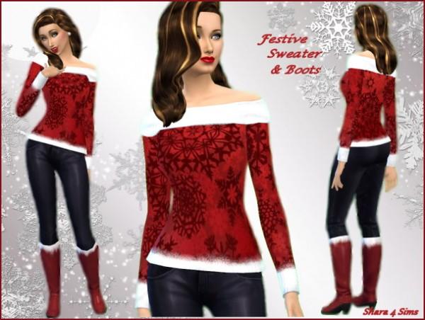 Shara 4 Sims: Festive Sweater & Boots