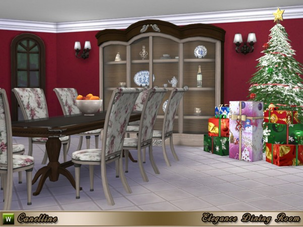 The sims resource elegance dining room by canelline for Sims 4 dining room ideas