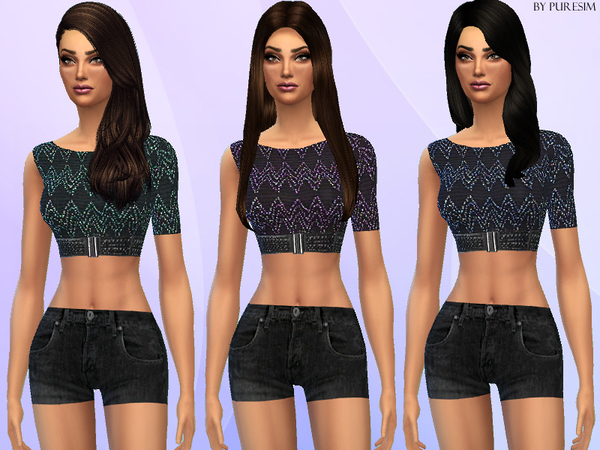 The Sims Resource: Casual One Shoulder Outfit by PureSim