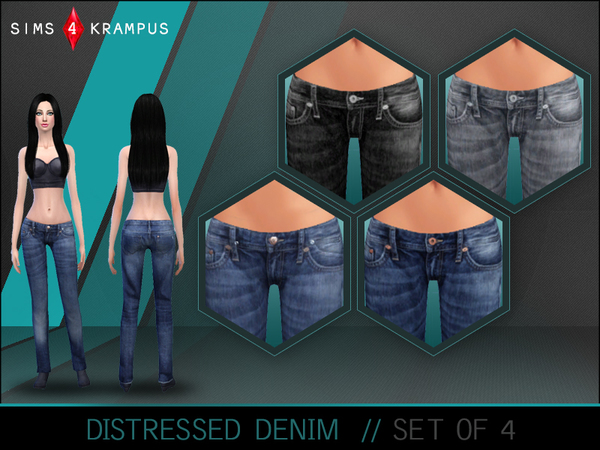 The Sims Resource: Distressed Denim Set of 4 by SIms4Krampus