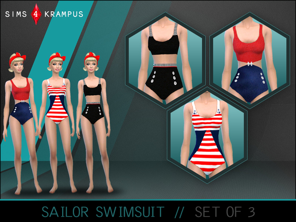 The Sims Resource: Sailor Swimsuit Set of 3 by Sims4Krampus