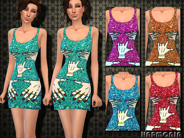 The Sims Resource: TRA$H Hands Off Sequin Dress by Haromia
