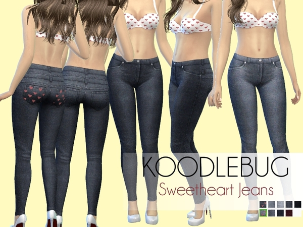 The Sims Resource: Sweetheart Jeans by Koodlebug