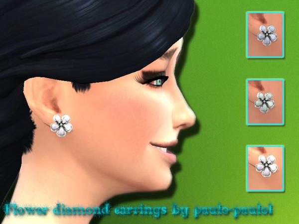 The Sims Resource: Flower diamod earrings by Paulol Paulol