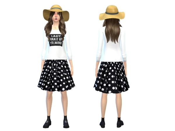 The Sims Resource: Black polka dot skirt with white sweater by Simsoertchen