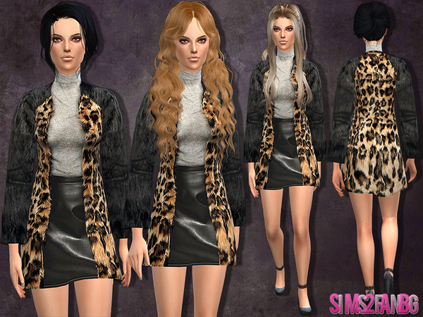 The Sims Resource: Dress with fur coat by Sims2fanbg