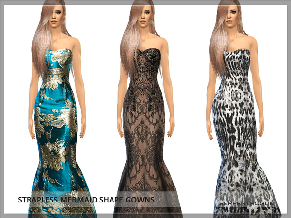 The Sims Resource: Strapless mermaid shape gowns by Serpentogue