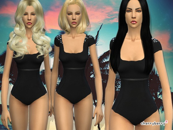 The Sims Resource: Shade swimsuit by CherryBerrySim