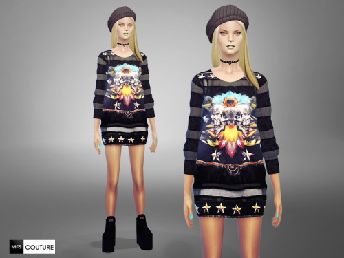 MissFortune Sims: Long Printed Sweater