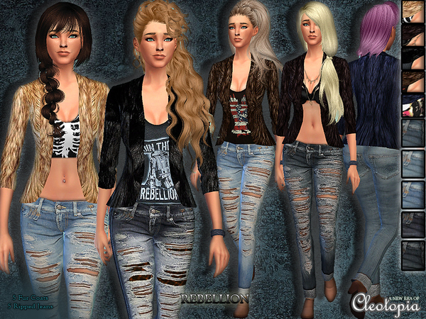 The Sims Resource: Rebellion Casual Set by Cleotopia