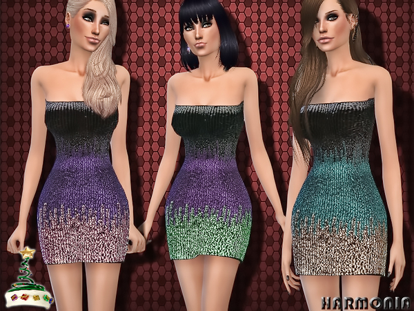 The Sims Resource: Sequinned Christmas Party Dress~Xmas 2015 by Harmonia