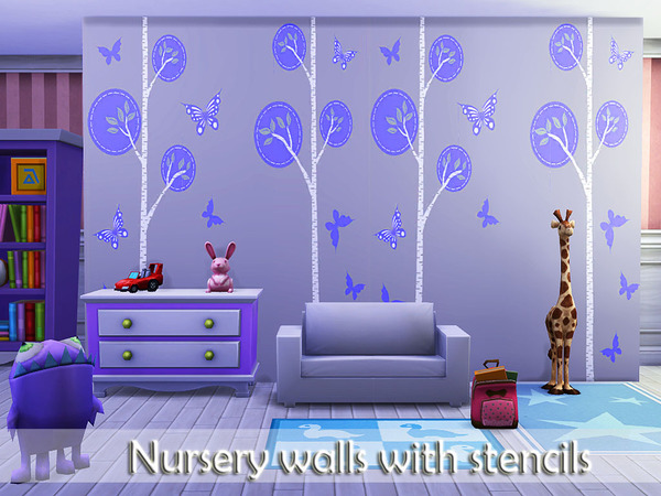 The Sims Resource: Nursery walls with stencil by Pinkzombiecupcakes