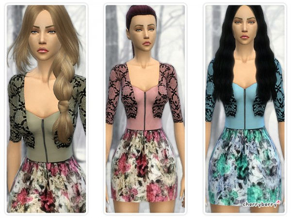 The Sims Resource: Floral dress with lace cardigan by CherryBerrySims
