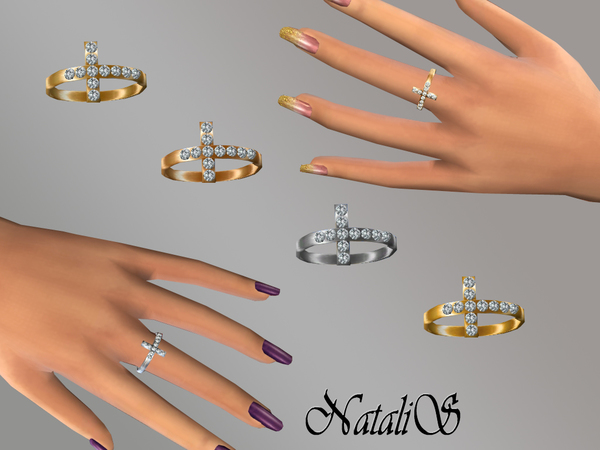 The Sims Resource: Cross with crystals ring by NataliS