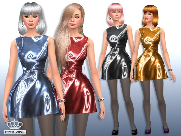 The Sims Resource: Skater Satin Dress by EsyraM