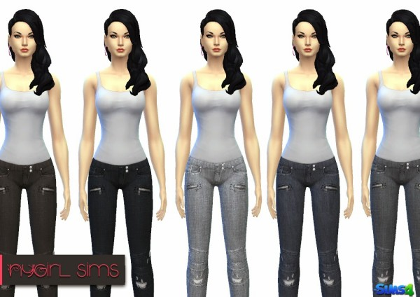 NY Girl Sims: Balmain Destroyed Stretch Jeans