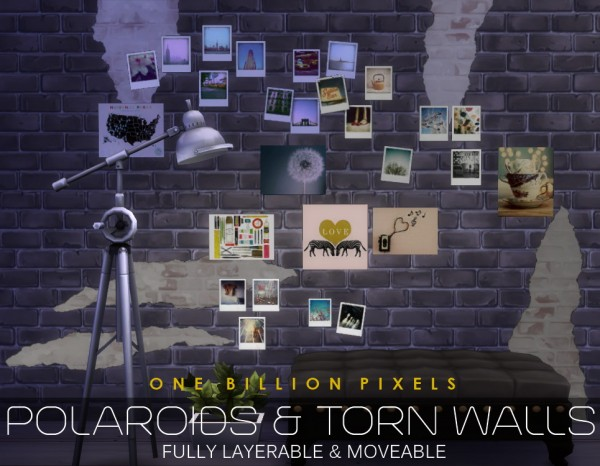 One Billion Pixels Polaroids Amp Torn Walls Sims 4 Downloads