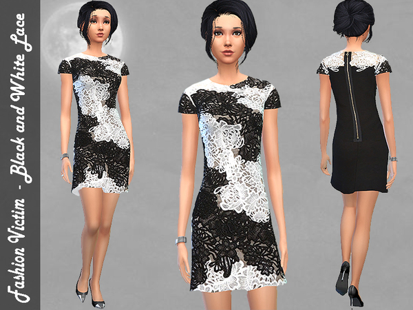 The Sims Resource: Black and White Lace Dress by Fashion Victim