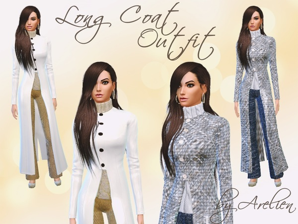 The Sims Resource: Long Coat Outfit Set by Arelien