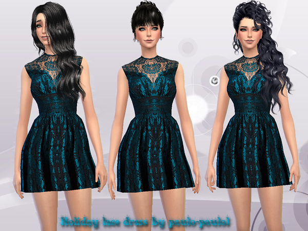 The Sims Resource: Holiday lace dress by Paulo Paulol