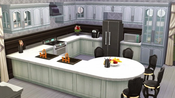 Sanjana sims black white kitchen sims 4 downloads for Sims 3 kitchen designs