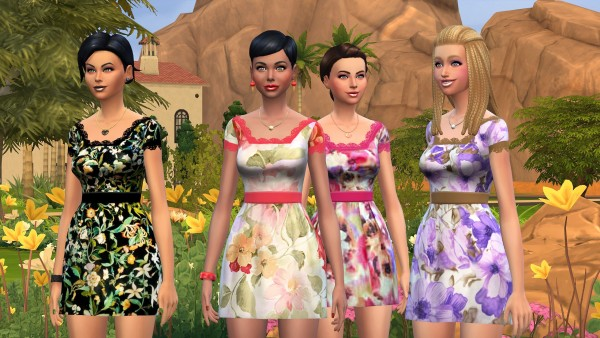Mod The Sims: Delicate Flowers new mesh dress by Malicieuse75