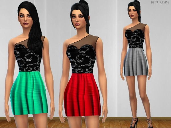 The Sims Resource: One Shoulder Dress by Pure Sim